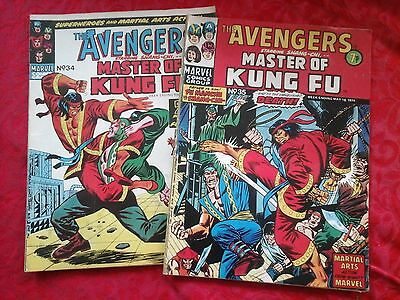 THE AVENGERS MARVEL COMIC 1974 x 2 plus MASTER OF KING FU  NO 35 & 34    RARE