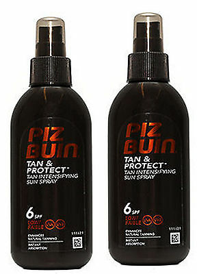 Piz Buin TAN INTENSIFIER  Sprays SPF 6  (pck of 2 ) 150ml each -  Faster Tanning