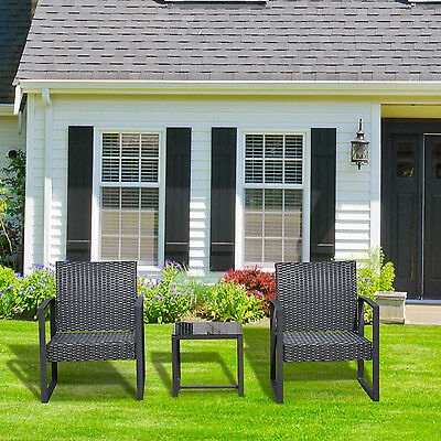 Outsunny 3PCS Patio Rattan Wicker Chair Table Set Cushioned Outdoor Furniture