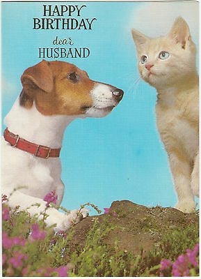 Happy Birthday Husband Vintage 1970's Jack Russell Terrier Greeting Card & Cat