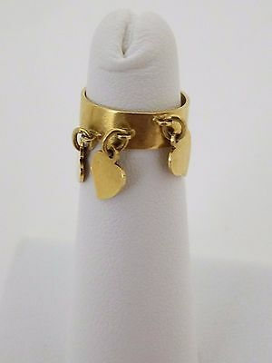 Vintage 18k gold dangling hearts ring engraved, tiny