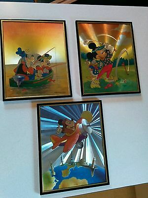 HOLOGRAPHIC 3x Frame MICKEY MOUSE GOOFY DONALD DUCK Walt Disney Rare sports