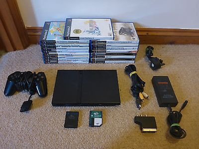 Sony Playstation 2 PS2 Slim Console + 1 Controller, 2 Memory Cards & 17 Games