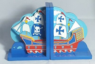 Beautiful Pair of Heavy Pirot Ship Themed Wooden Bookends.