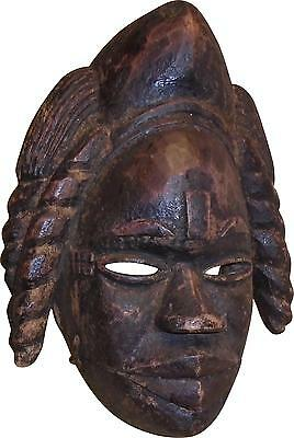 USED Tribal African Handmade Dark Wood Carved Mask Wall Hanging Decor (P.K)
