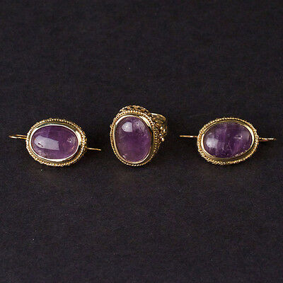 BJ024 Ladies Earrings and Ring Set in Yellow 14K Gold with Amethysts