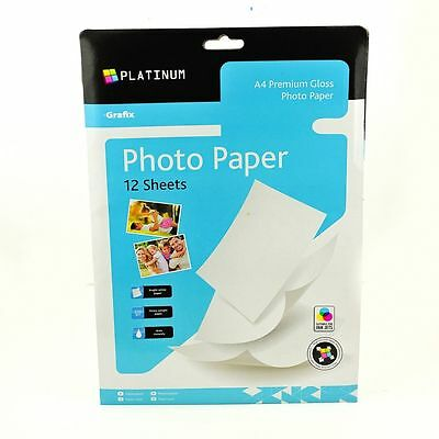 A4 12pk Gloss Bright White Coated Inkjet Laser Printer Photo Paper Sheets 220gsm