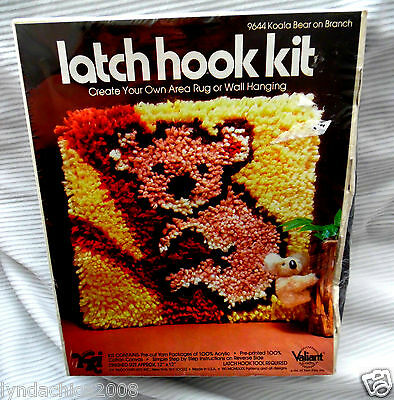 KOALA BEAR ON BRANCH Latch Hook Kit #9644 By Valiant (12 X 12 INCHES)