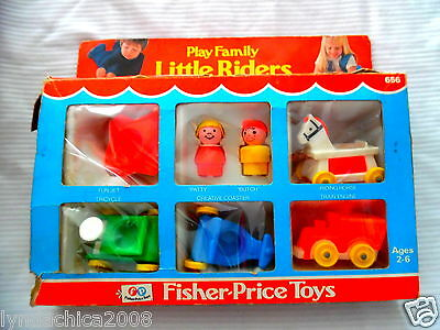 Vintage PLAY FAMILY LITTLE RIDERS By Fisher Price 1976 COMPLETE