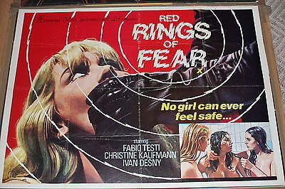 Red Rings Of Fear Uk Quad Poster Rare Giallo Horror Pre Cert Int Video Nasties