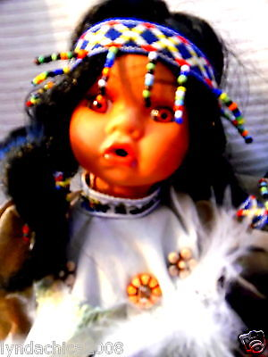 Vintage Native Indian Porcelain Doll By Bloom Brothers BOX INCLUDED