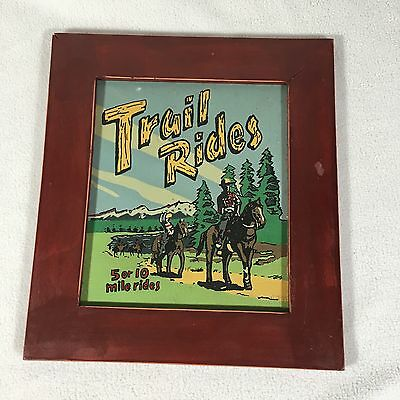Trail Riding Sign Equestrian Vintage Painted