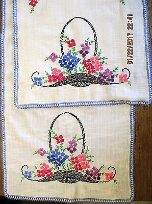 Vintage Linen Table Runners 1 Pair Embroidered Basket Flowers Multi-color