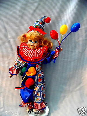 Vintage Porcelain Clown Doll With Balloon Rattles