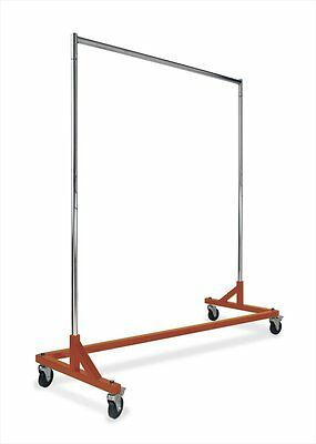 Heavy Duty Commercial Grade Single Bar Z Rack Clothing Garment Clothes Rolling