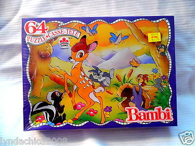 Vintage BAMBI Jigsaw Puzzle (64 pieces) By Canada Games ***SEALED IN PLASTIC***