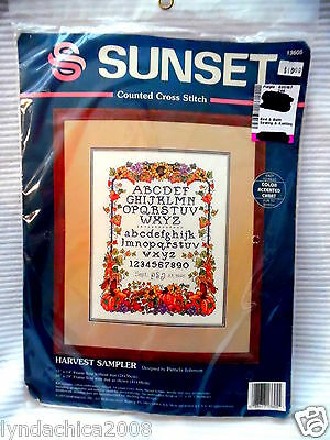 HARVEST SAMPLER Counted Cross Stitch By SUNSET ***SEALED***