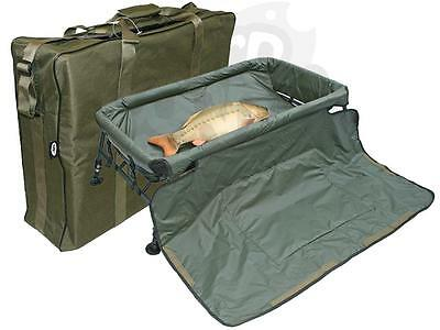 Fishing Carp Cradle Framed Unhooking Mat With Adjustable Legs Plus Carryall