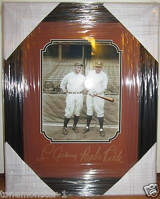 1927 BABE RUTH, LOU GEHRIG LASER AUTO 16x20 YANKEES FRAMED DISPLAY AUTOGRAPH