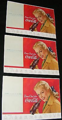 """COCA COLA VINTAGE 1940'S FOOTBALL PROGRAM UNUSED LITHO Time Out For """"COCA COLA"""""""