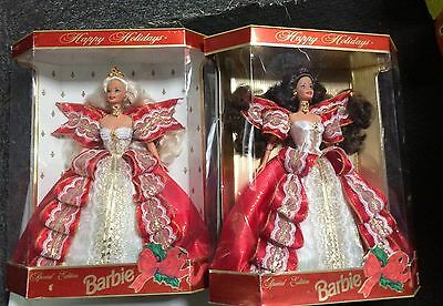 1997 Happy Holidays Barbie Set Of Two Blonde And Brunette