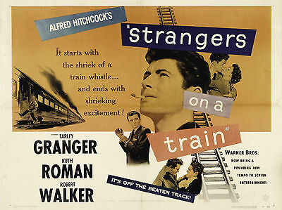 "Strangers on a Train 1951 16"" x 12"" Reproduction Movie Poster Photograph"