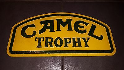 Pair Of Camel Trophy Cast Metal Sign. Advertising Plaque.  Landrover Enthusiast