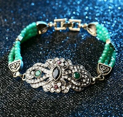 Luxury Vintage Gold Plated Turkish Green Crystal Beads Alibaba Charm Bracelet.