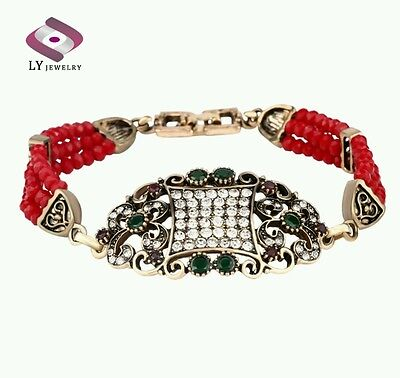 Luxury Vintage Gold Plated Turkish Red Crystal Beads Alibaba Charm Bracelet.