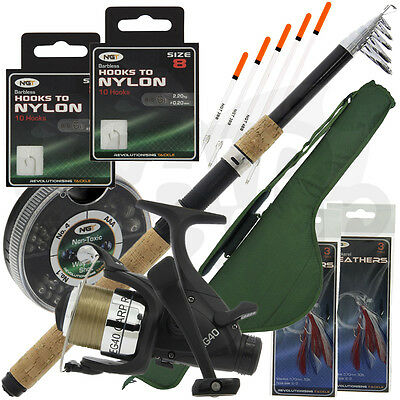 Travel Fishing Telescopic 10ft Rod & Reel Set Up Deluxe Case Carryall And Tackle