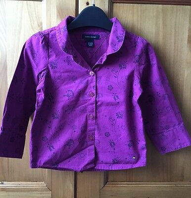 Tommy Hilfiger Little Girls Purple Long Sleeved Shirt Size 18M