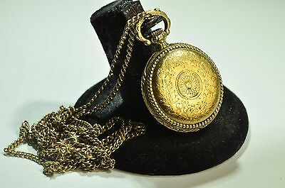 Elegant Antique yellow gold filled chain & gold plated Elgin pocket watch pedant