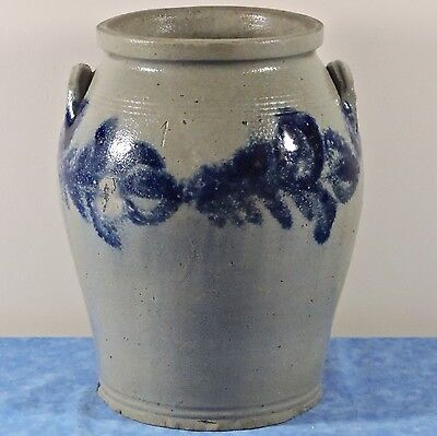 Antique Salt Glaze Blue Decorated 2 Ear 1 Gal. Stoneware Pottery Crock- Unmarked