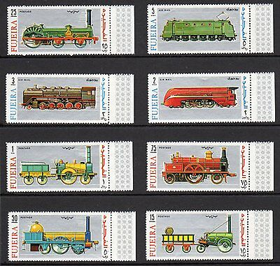 1969 Fujeira Complete Set Of Vintage Trains Mint Never Hinged Post Office Fresh