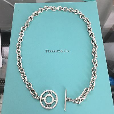 Authentic Tiffany & Co Silver Atlas Toggle Link Necklace POUCH & BOX!!