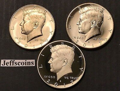 2017 P D S Kennedy Half Dollar Proof +2x Business Strike Clad U.S. Mint Set PDS