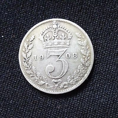 1908 Silver Threepence, George V, Three Pence, 3d
