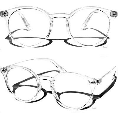 Transparent Frame Clear Lens Glasses Retro Fashion Round Horn Rimmed Style