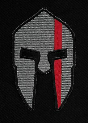 Spartan Crusader Thin Red Line Fire Department Rescue Firefighter Biker Patch
