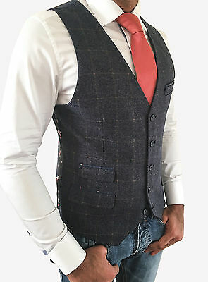 Mens Navy Tweed Style Slim Fit Waistcoat Vest With Check - Sizes 34-48