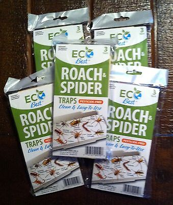 Roach spider Insect glue traps w/attractant EcoBest pesticide free 2017 15 traps