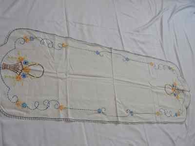 """Vintage Embroidered Kitchen Table Runner 41"""" by 14"""""""