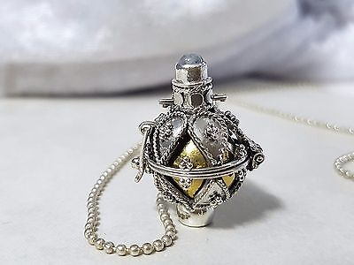 925 STERLING SILVER Leaves Harmony Chime Ball Angel Caller Pendant w/Chain