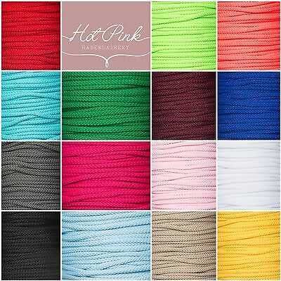 4mm Drawstring Lacing Piping Cord for Bags, Coats 20+colours Rapid Dispatch