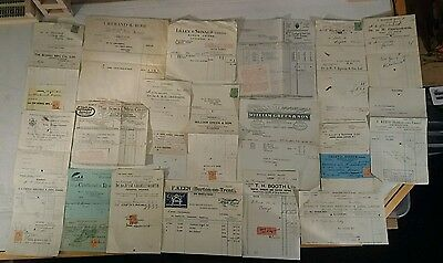 Bundle job lot old receipts stamps 1920s vintage retro, approx 15 items