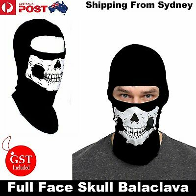 New Skeleton Ghost Skull Face Mask Balaclava Biker Halloween Party Costume Black