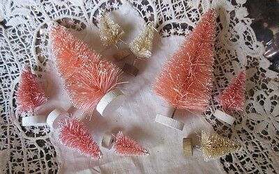 Lot of 9 Small Bottle Brush Trees Shabby PINK and IVORY Wooden Bases