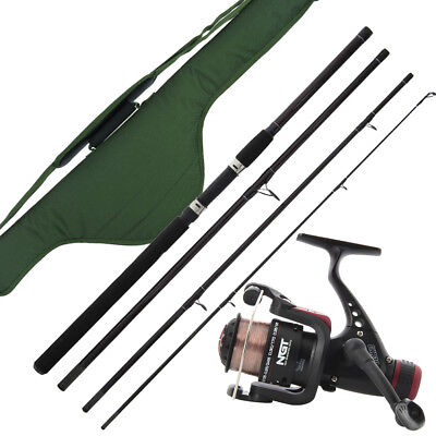 Travel Fishing Setup 9ft 4 Piece Rod & Reel With Holdall Carry Case Holiday NGT