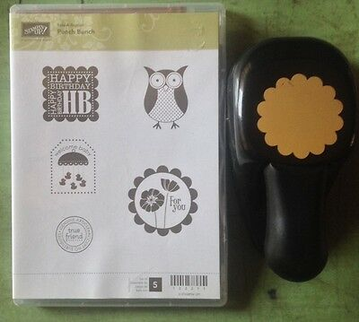 Stampin Up PUNCH BUNCH RUBBER STAMP SET + BLOSSOM PUNCH OWL Flower Retired LOT ~