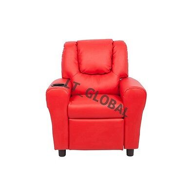 Kids Padded PU Leather Recliner Chair Children Sofa Arm Drink Holder -Red